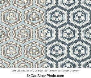 Retro Seamless Pattern Sawtooth Side Polygon Geometry
