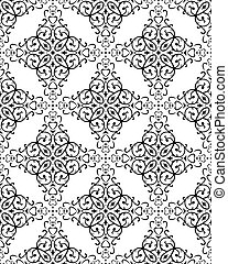 Retro Seamless Pattern - Seamless pattern from black flowers...