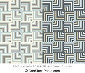 Retro Seamless Pattern Spiral Geometry Square Line