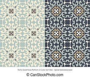 Retro Seamless Pattern Spiral Kaleidoscope