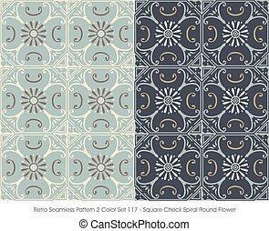 Retro Seamless Pattern Square Check Spiral Round Flower