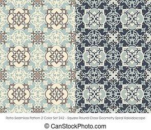 Retro Seamless Pattern Square Round Cross Geometry Spiral Kaleidoscope