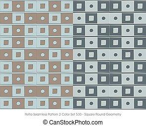 Retro Seamless Pattern Square Round Geometry