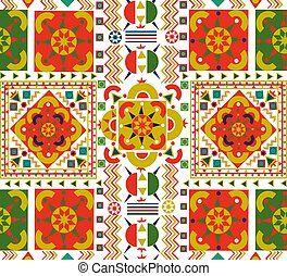 Retro seamless pattern tile of folk floral art