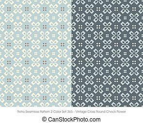 Retro Seamless Pattern Vintage Cross Round Check Flower