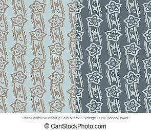 Retro Seamless Pattern Vintage Curve Ribbon Flower
