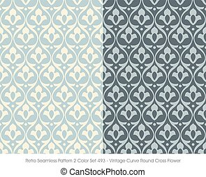 Retro Seamless Pattern Vintage Curve Round Cross Flower