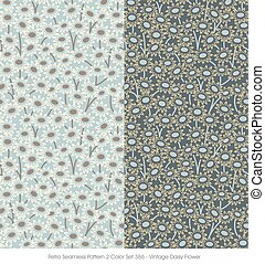 Retro Seamless Pattern Vintage Daisy Flower