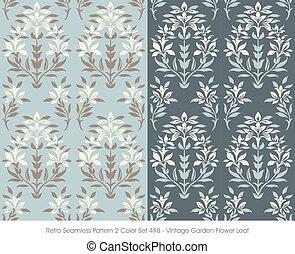 Retro Seamless Pattern Vintage Garden Flower Leaf