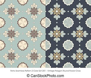 Retro Seamless Pattern Vintage Polygon Round Flower Cross