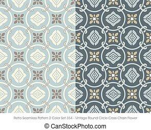 Retro Seamless Pattern Vintage Round Circle Cross Chain Flower