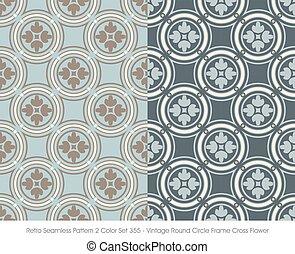 Retro Seamless Pattern Vintage Round Circle Frame Cross Flower