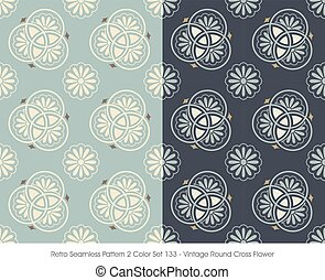 Retro Seamless Pattern Vintage Round Cross Flower