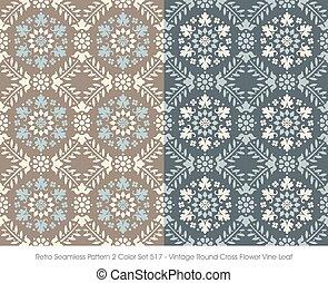 Retro Seamless Pattern Vintage Round Cross Flower Vine Leaf