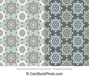 Retro Seamless Pattern Vintage Round Flower