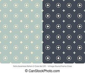 Retro Seamless Pattern Vintage Round Frame Cross