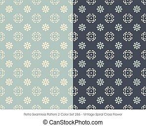 Retro Seamless Pattern Vintage Spiral Cross Flower