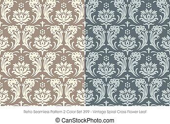 Retro Seamless Pattern Vintage Spiral Cross Flower Leaf
