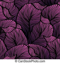 Retro seamless pattern with abstract doodle leaves