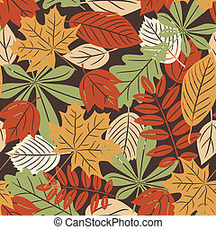 Retro seamless pattern with autumn leaves