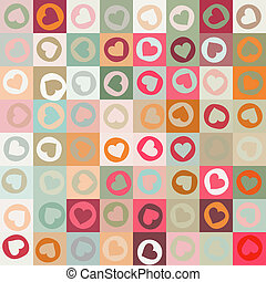 Retro seamless pattern with colorful hearts. EPS 8