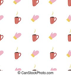 Retro seamless pattern with cup of cacao and pink mitten for paper and fabric design.