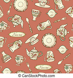 Retro seamless pattern with dishware - Vector pattern with...