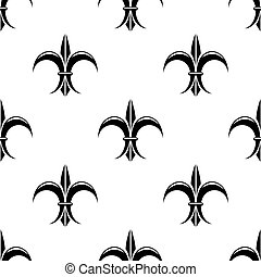 Retro seamless pattern with french fleur de lys flowers for vintage or heraldic design