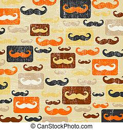 retro seamless pattern with mustache