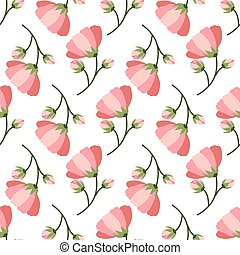 Retro seamless pattern with pink blooming flower.