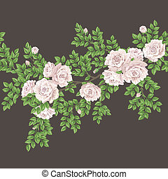 Retro seamless pattern with roses - Retro floral vector ...