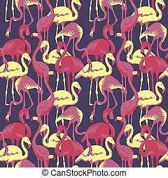 Retro Seamless Pattern with Tropical Birds Flamingo. Vector illustration
