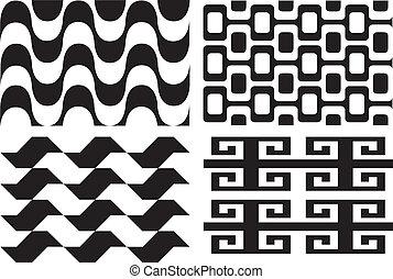Retro seamless patterns - Retro vintage black and white...