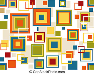 Retro Seamless Squares Background with Clipping Path