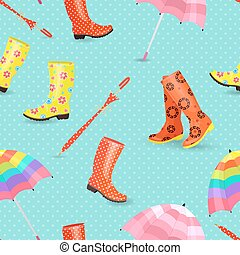 retro seamless texture with cute rubber boots and umbrellas