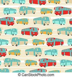 retro, seamless, viaje, patrón, de, buses.