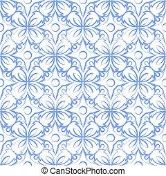 retro seamless wallpaper background elegant blue round curve cross flower vine