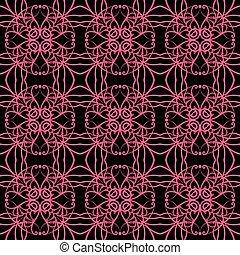 retro seamless wallpaper background pink kaleidoscope cross spiral round vine
