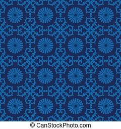 retro seamless wallpaper background vintage blue spiral round cross flower kaleidoscope