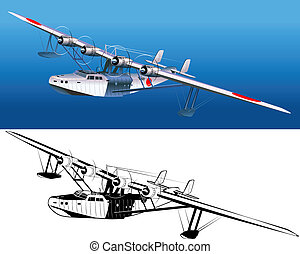 retro seaplane 30-s. Available EPS-8 vector format separated by groups and layers for easy edit