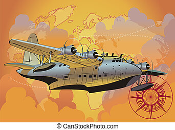 retro seaplane. Available EPS-10 vector format separated by groups and layers for easy edit