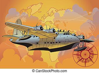 retro, seaplane