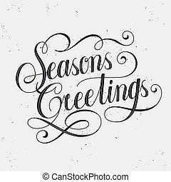retro seasons greetings calligraphy with decorative line