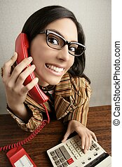 Retro secretary wide angle humor telephone woman - Retro...