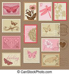 retro, sellos, -, con, mariposas, y, flores, -, para, boda, diseño, invitación, álbum de recortes