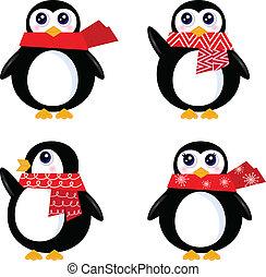 retro, set, isolare, natale, pinguino