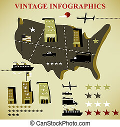 retro set of infographic