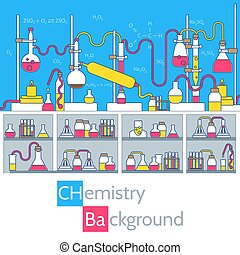 Retro set science experiment equipment in a chemistry laboratory background concept. Vector illustration design