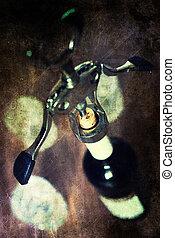 retro shabby picture corkscrew bottle glasses