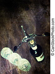 retro shabby picture corkscrew bottle glasses
